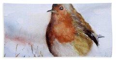 Snow Bird Bath Towel by William Reed