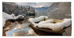 Snow Covered Boat On Lake Bohinj In Winter Bath Towel