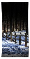Snow Covered Bridge Hand Towel by Kim Henderson