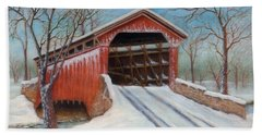 Snow Covered Bridge Hand Towel