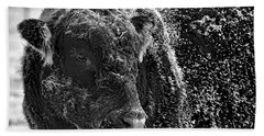 Hand Towel featuring the photograph Snow Covered Ice Bull by Amanda Smith