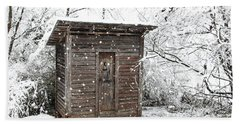 Snow Covered Outhouse Bath Towel