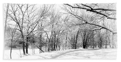 Snow Covered River Road Bath Towel by Kathy M Krause