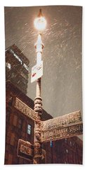 Snow Covered Signs - New York City Bath Towel