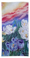 Snow Crocus Bath Towel