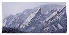 Snow Dusted Flatirons Boulder Colorado Bath Towel