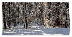 Snow Falling Off Cedars Hand Towel