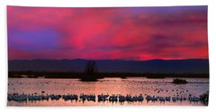 Snow Geese Sunset Hand Towel