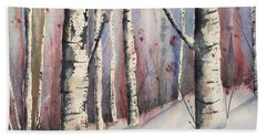 Snow In Birches Hand Towel