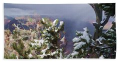 Hand Towel featuring the photograph Snow In The Canyon by Roberta Byram
