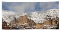 Bath Towel featuring the photograph Snow Kissed Morning In Sedona, Az by Sandra Bronstein