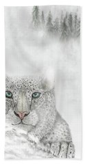 Hand Towel featuring the digital art Snow Leopard by Darren Cannell