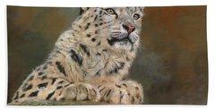 Snow Leopard On Rock Bath Towel by David Stribbling