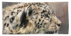 Hand Towel featuring the painting Snow Leopard Study by David Stribbling