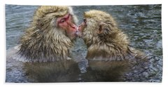 Snow Monkey Kisses Hand Towel