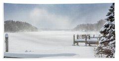 Snow On Lake Charlevoix Bath Towel