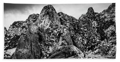 Hand Towel featuring the photograph Snow On Peaks 46 by Mark Myhaver