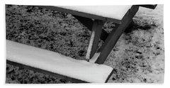 Snow On Picnic Table Hand Towel