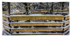Snow On The Fence Hand Towel by Bill Howard