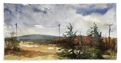 Snow Sky In Fall Hand Towel by Judith Levins