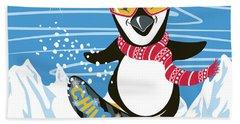 Snowboarding Penguin Hand Towel
