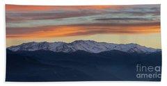 Snowcapped Miapor Range Under Golden Clouds, Armenia Bath Towel by Gurgen Bakhshetsyan