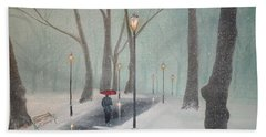 Snowfall In The Park Hand Towel
