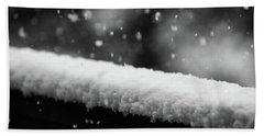 Snowfall On The Handrail Hand Towel by Jason Coward