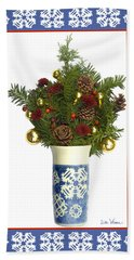 Hand Towel featuring the digital art Snowflake Vase With Christmas Regalia by Lise Winne