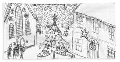Snowing At Christmas Hand Towel by Artists With Autism Inc