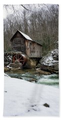 Snowing At Glade Creek Mill Bath Towel by Steve Hurt
