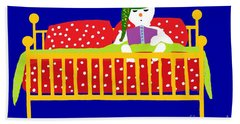 Hand Towel featuring the digital art Snowman Bedtime by Barbara Moignard