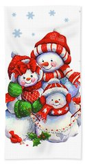 Snowman Family Hand Towel
