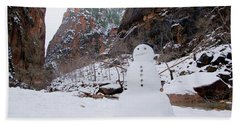 Snowman In Zion Bath Towel by Daniel Woodrum