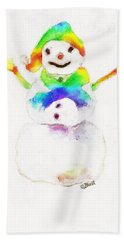 Hand Towel featuring the painting Snowman With Rainbow 1 by Claire Bull