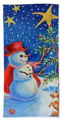 Snowmas Christmas Hand Towel by Li Newton