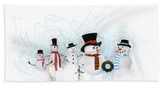 Hand Towel featuring the painting Snowmen by Methune Hively