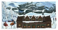 Snowmobile Holiday Hand Towel by Jennifer Lake