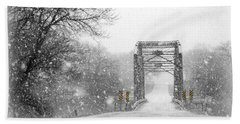 Snowy Day And One Lane Bridge Bath Towel by Kathy M Krause