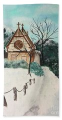 Hand Towel featuring the painting Snowy Daze by Denise Tomasura