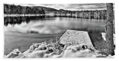 Hand Towel featuring the photograph Snowy Dock by David Patterson