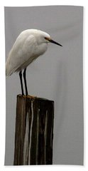 Snowy Egret In The Fog  Hand Towel