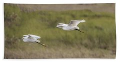 Snowy Egret Pair Flying Across A Plain Hand Towel