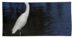 Snowy Egret Perched On A Rock Hand Towel