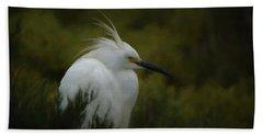 Snowy Egret Portrait Da Bath Towel