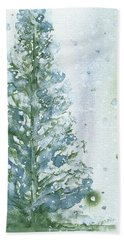 Hand Towel featuring the painting Snowy Fir Tree by Dawn Derman