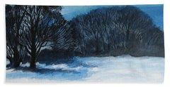 Snowy Moonlight Night Hand Towel