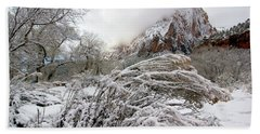 Snowy Mountains In Zion Bath Towel by Daniel Woodrum