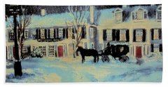 Snowy Night At The Inn Hand Towel