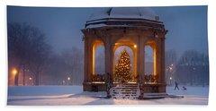Snowy Night On The Salem Common Hand Towel